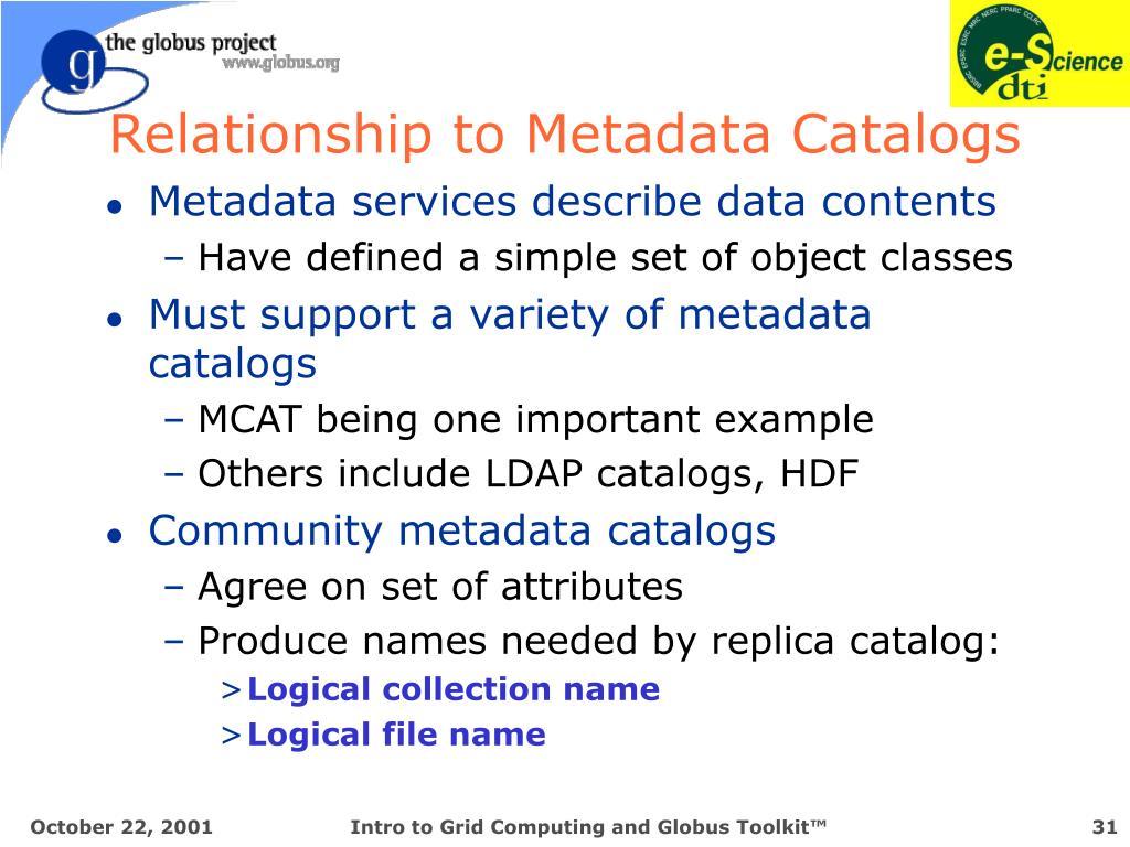 Relationship to Metadata Catalogs