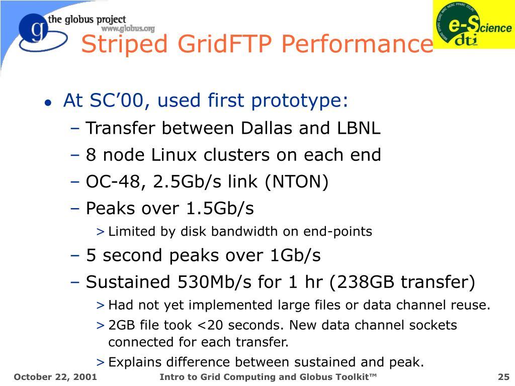 Striped GridFTP Performance