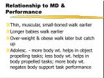 relationship to md performance