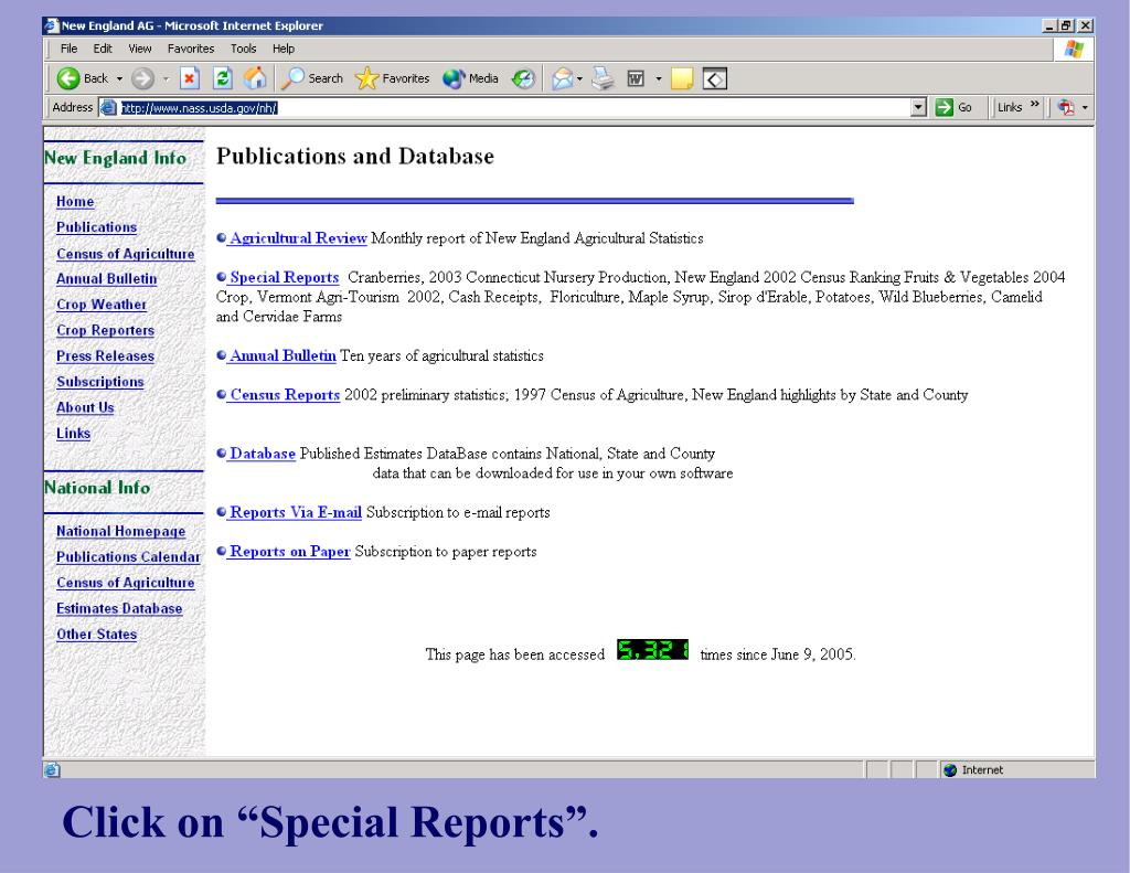 """Click on """"Special Reports""""."""