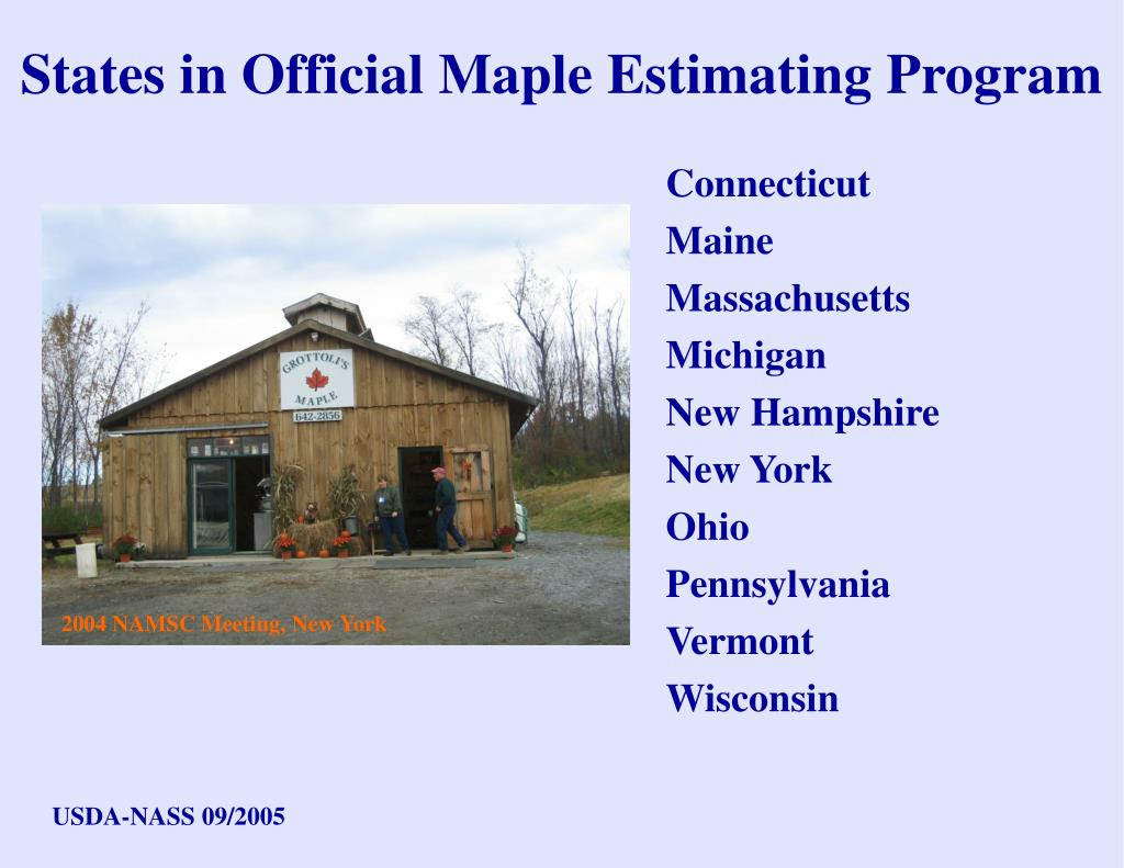 States in Official Maple Estimating Program