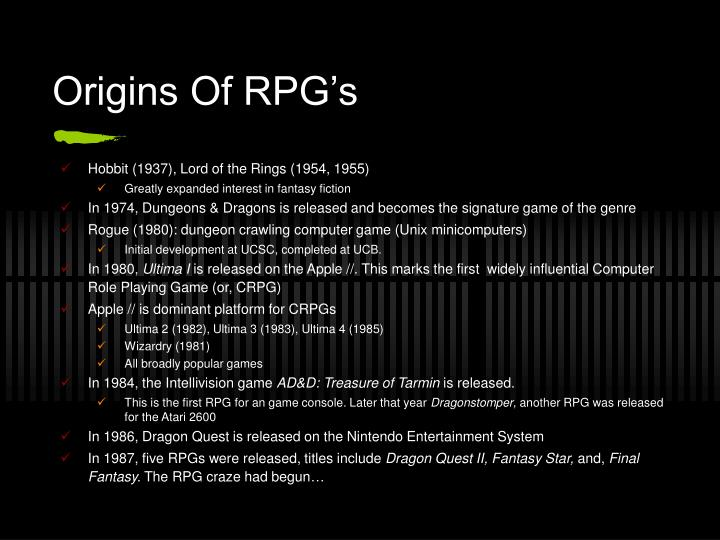 Origins of rpg s