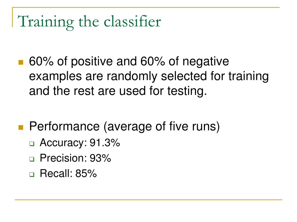 Training the classifier