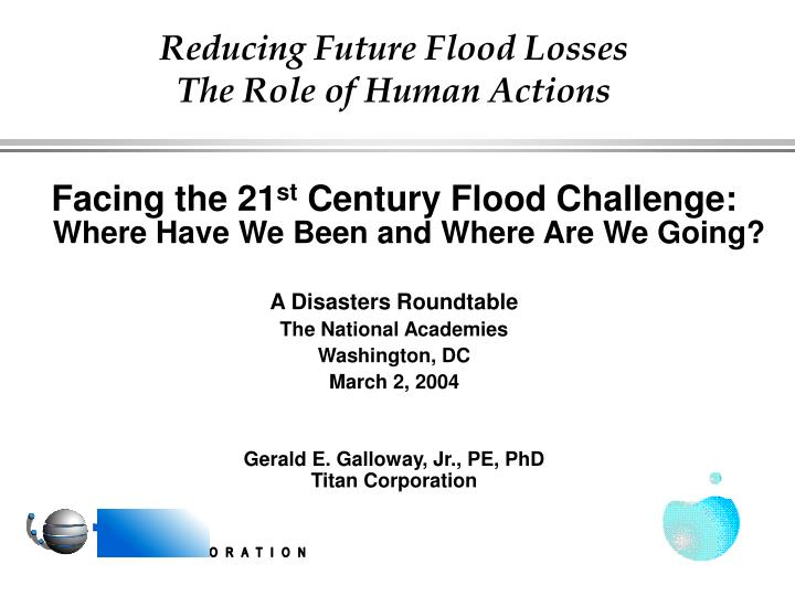 reducing future flood losses the role of human actions n.