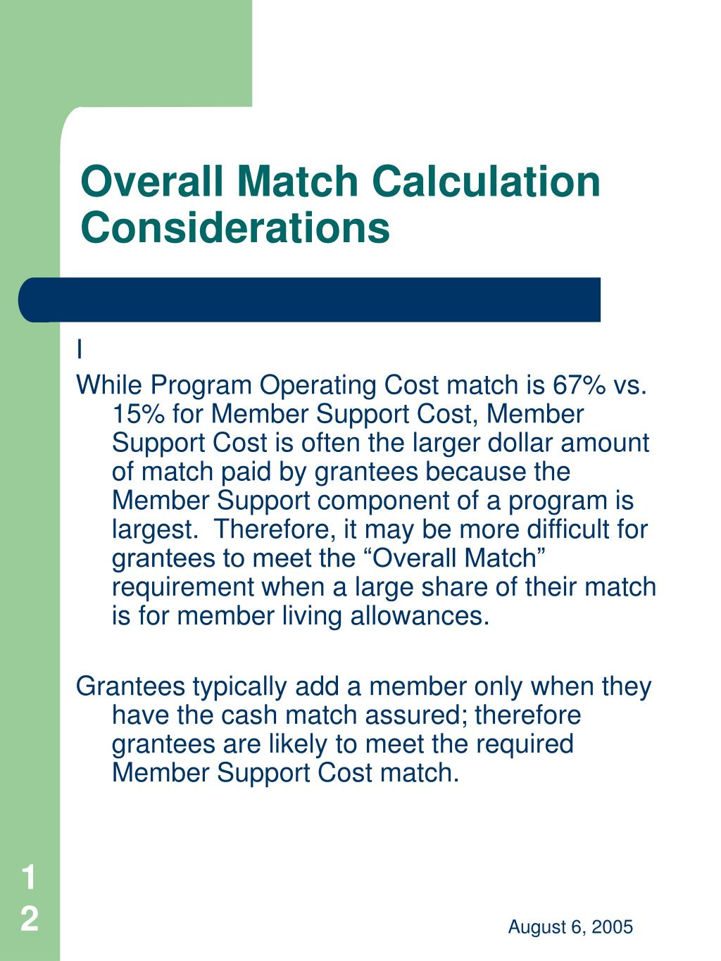 Overall Match Calculation Considerations