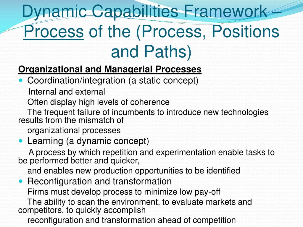 strategic process dynamic capabilities The conference co-chairs and track chairs invite submissions of proposals that will advance the dialogue on the value added of incorporating entrepreneurial thinking, and more broadly entrepreneurship related concepts and variables, as key building blocks in dynamic capabilities research and more generally, in strategic management research.