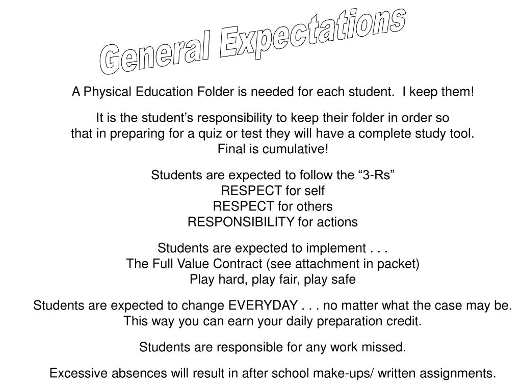 General Expectations