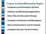 course lecture discussion topics