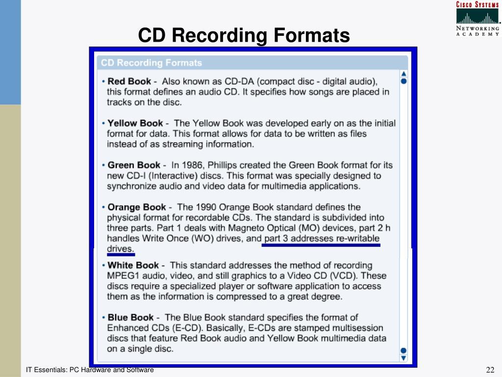 CD Recording Formats