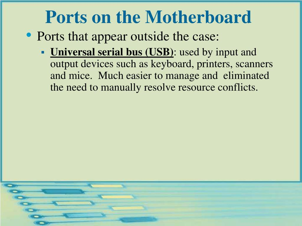 Ports on the Motherboard