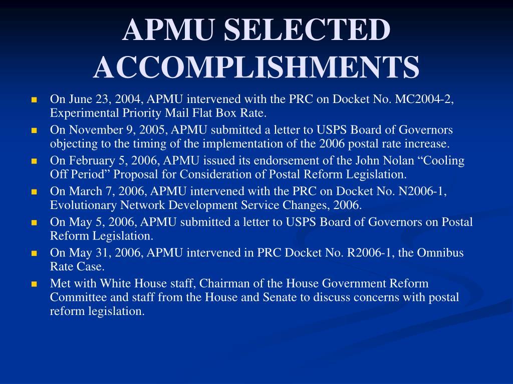 APMU SELECTED ACCOMPLISHMENTS