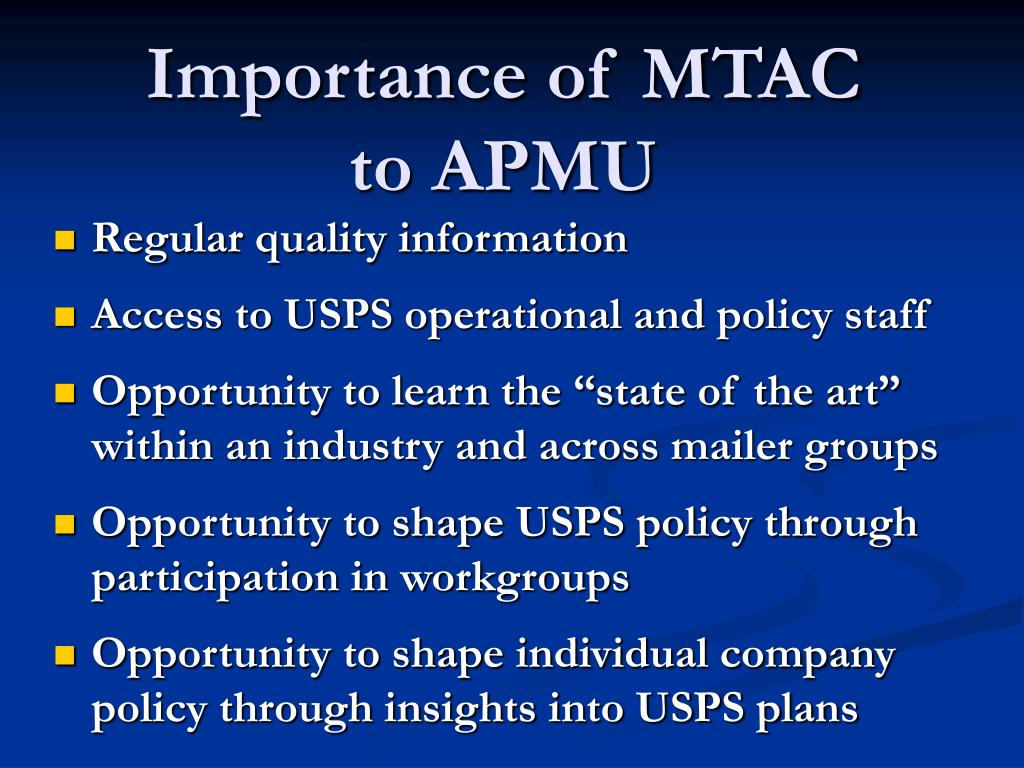 Importance of MTAC