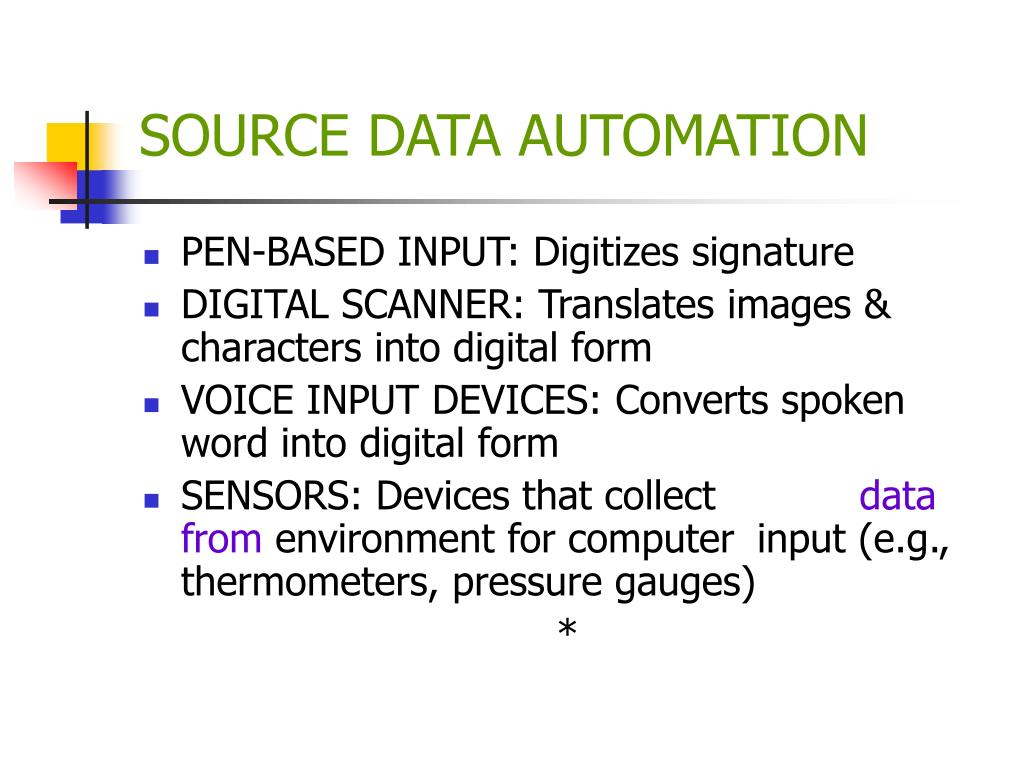 SOURCE DATA AUTOMATION
