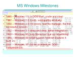 ms windows milestones