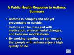 a public health response to asthma summary