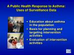 a public health response to asthma uses of surveillance data