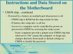 instructions and data stored on the motherboard30