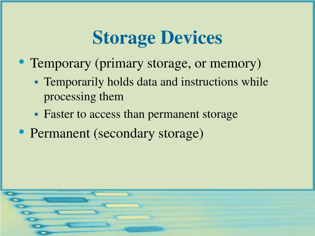 Temporary (primary storage, or memory)