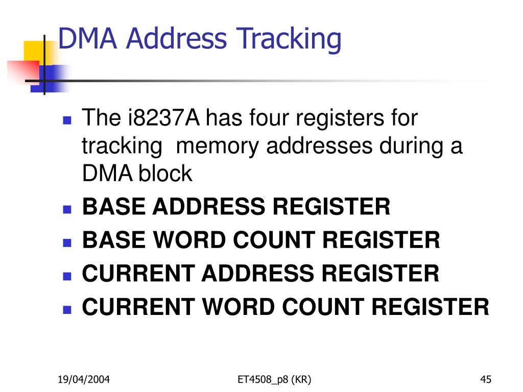 DMA Address Tracking