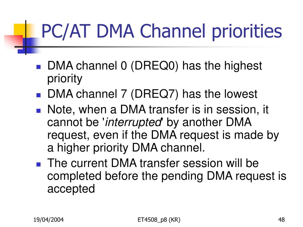 PC/AT DMA Channel priorities