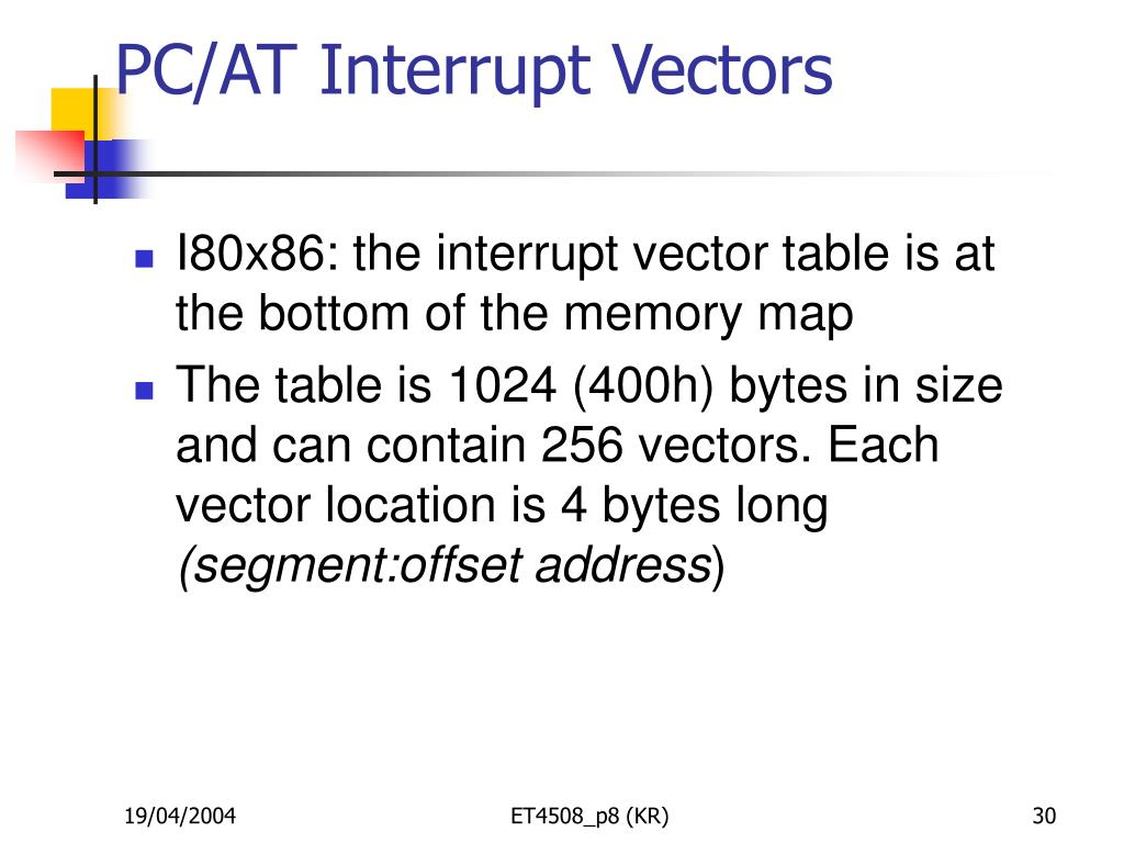 PC/AT Interrupt Vectors