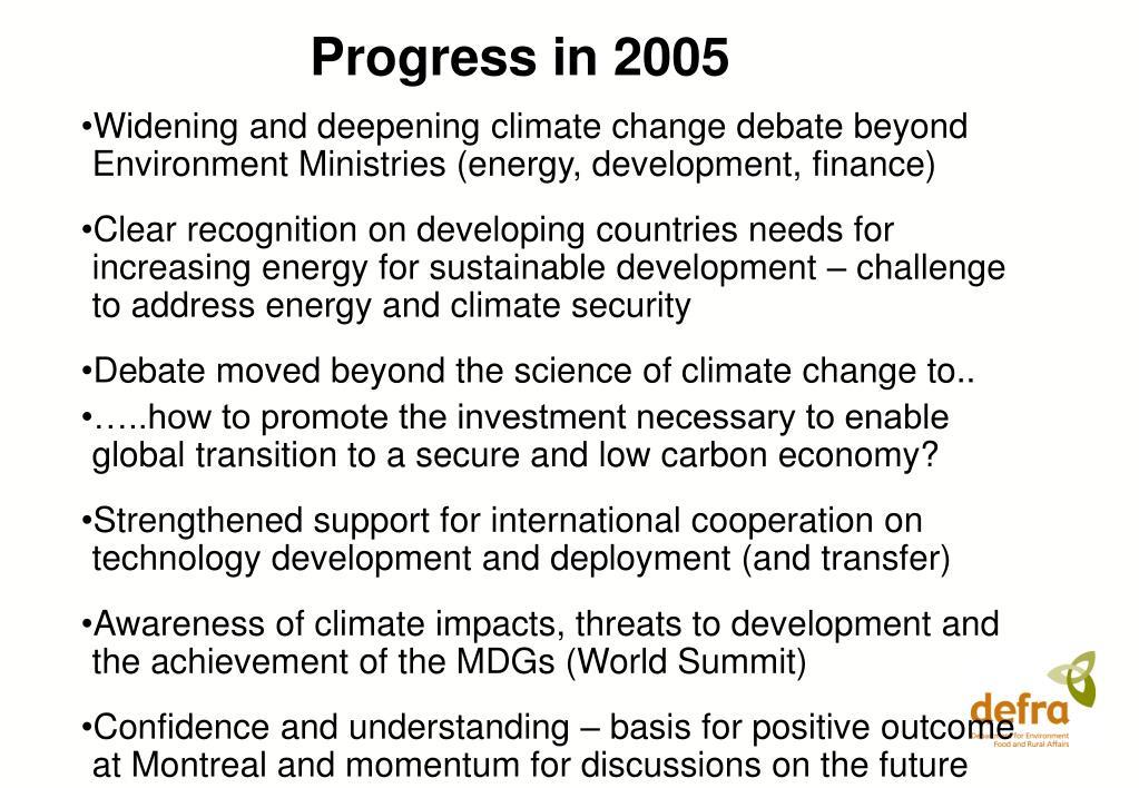 Progress in 2005