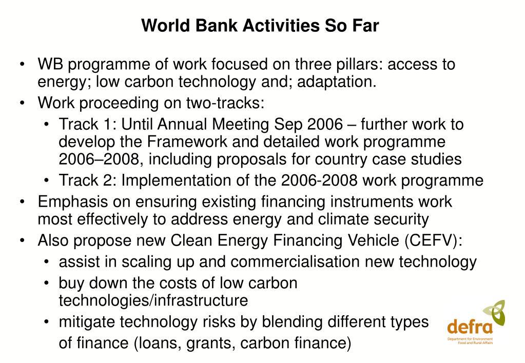 World Bank Activities So Far