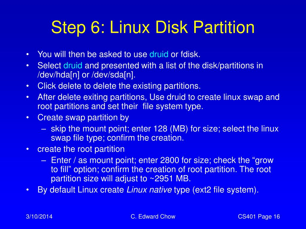 Step 6: Linux Disk Partition