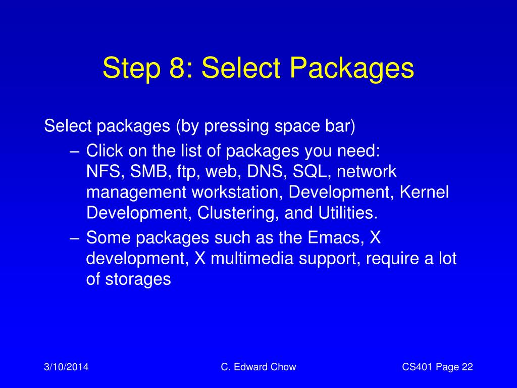 Step 8: Select Packages