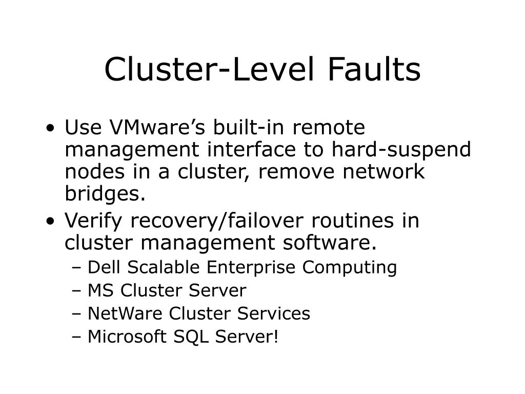 Cluster-Level Faults