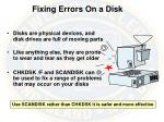 fixing errors on a disk