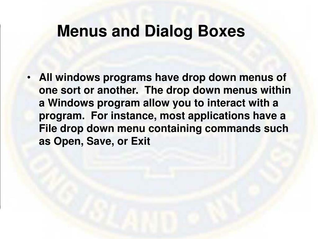 Menus and Dialog Boxes