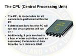 the cpu central processing unit