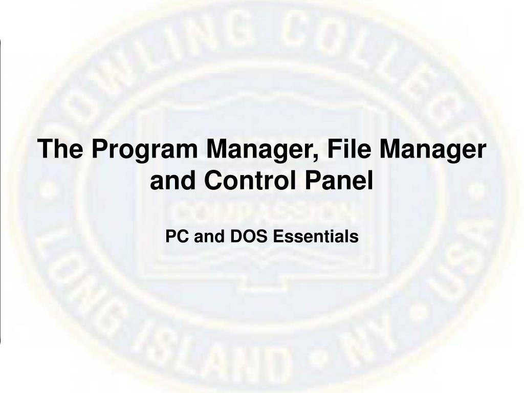 The Program Manager, File Manager and Control Panel