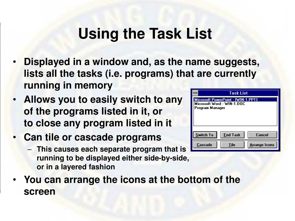 Using the Task List