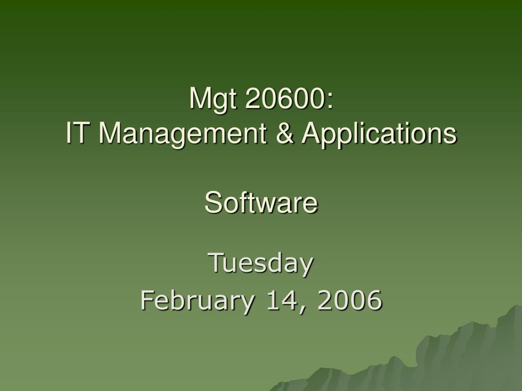 mgt 20600 it management applications software l.