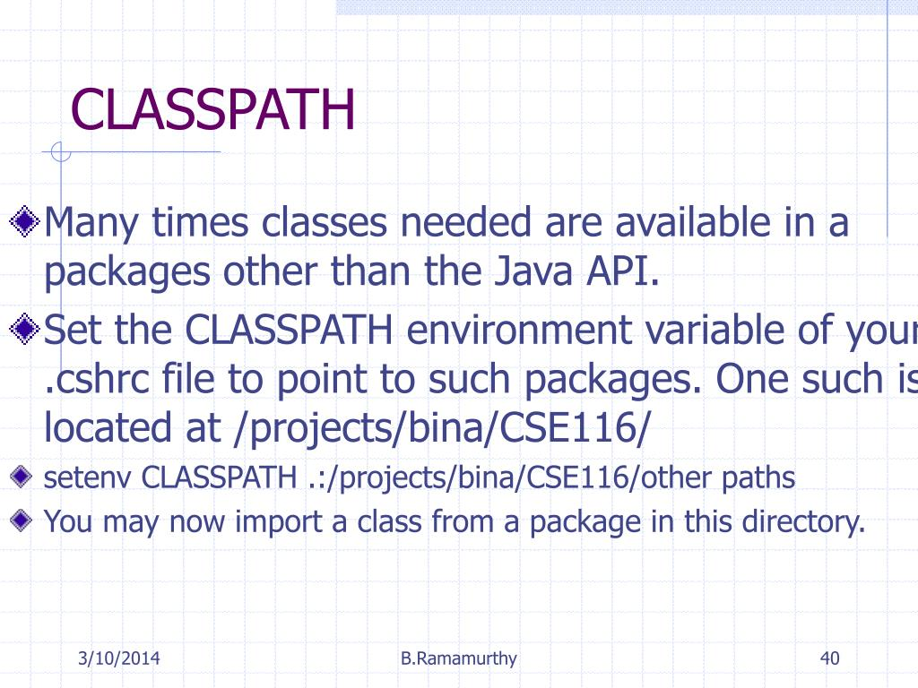 Many times classes needed are available in a packages other than the Java API.