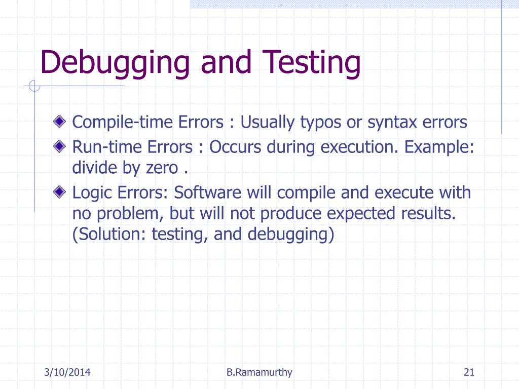 Compile-time Errors : Usually typos or syntax errors