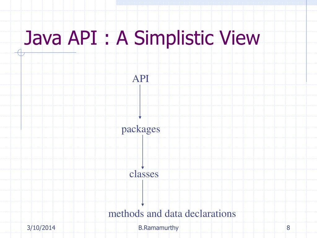 Java API : A Simplistic View