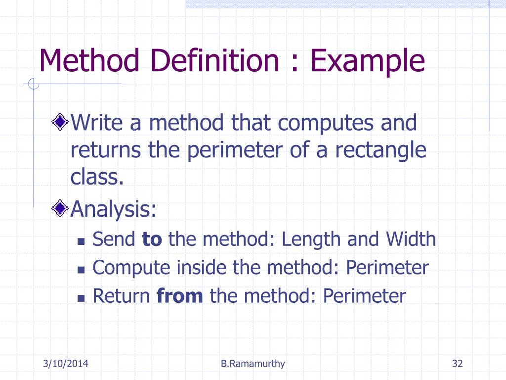 Method Definition : Example