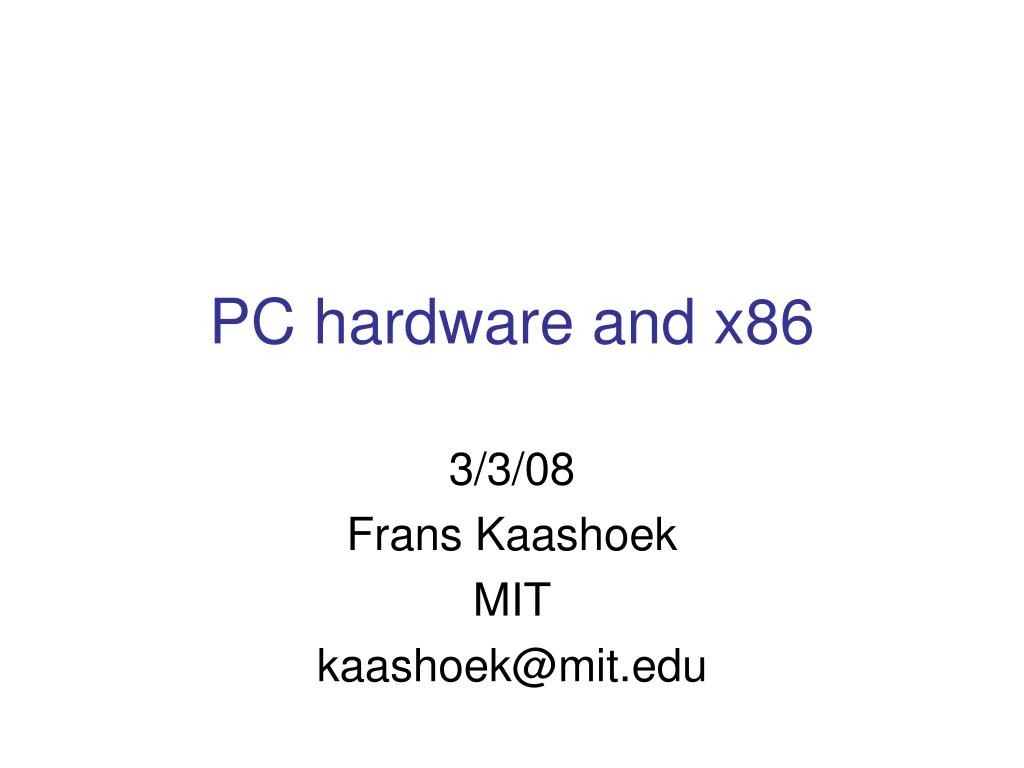 pc hardware and x86 l.