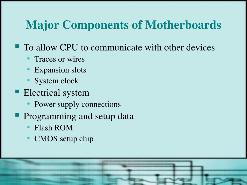 Major Components of Motherboards