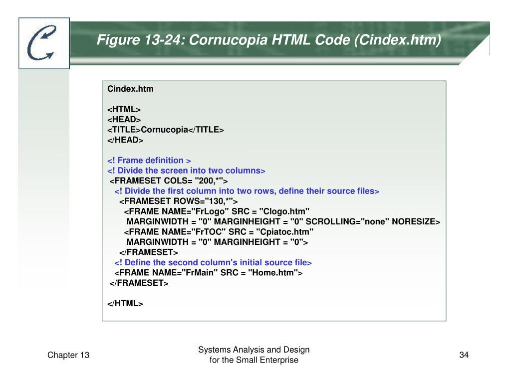 Figure 13-24: Cornucopia HTML Code (Cindex.htm)