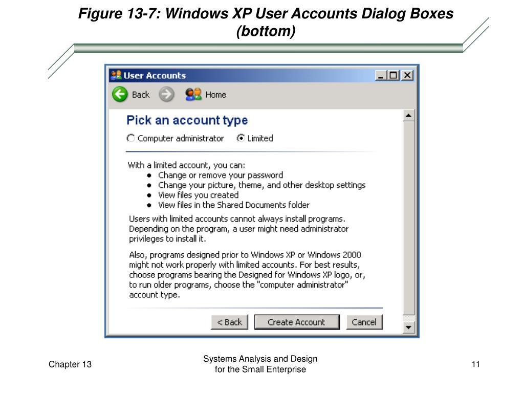 Figure 13-7: Windows XP User Accounts Dialog Boxes