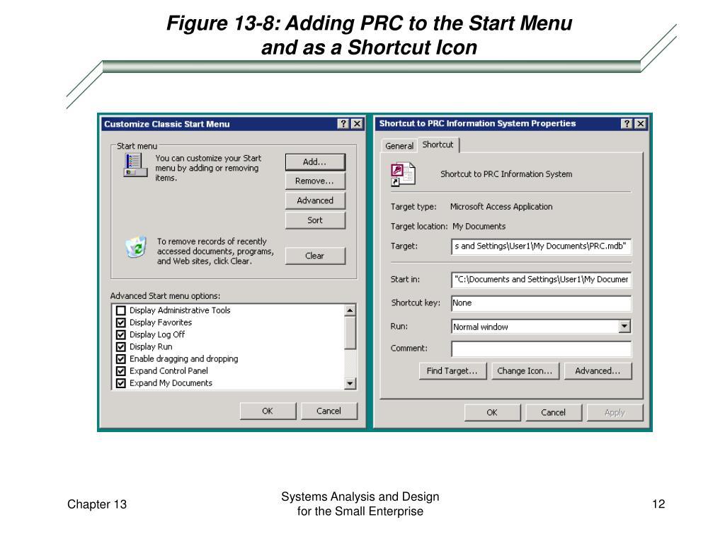 Figure 13-8: Adding PRC to the Start Menu