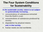 the four system conditions for sustainability