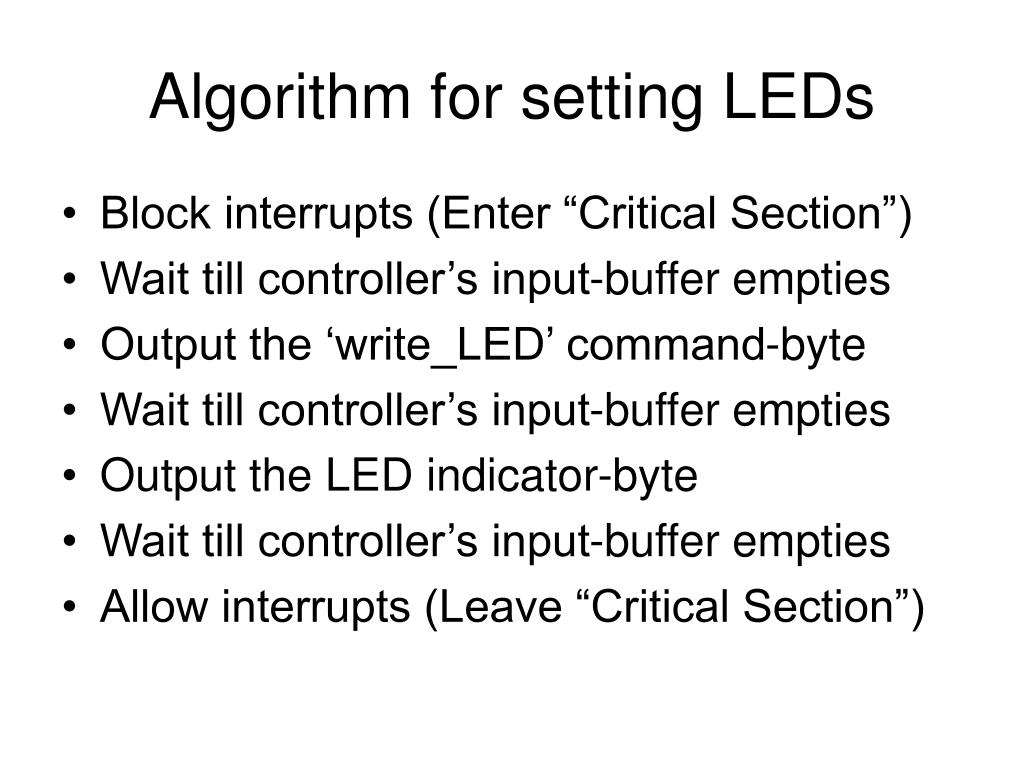 Algorithm for setting LEDs