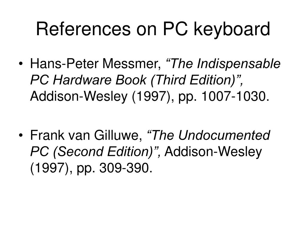 References on PC keyboard