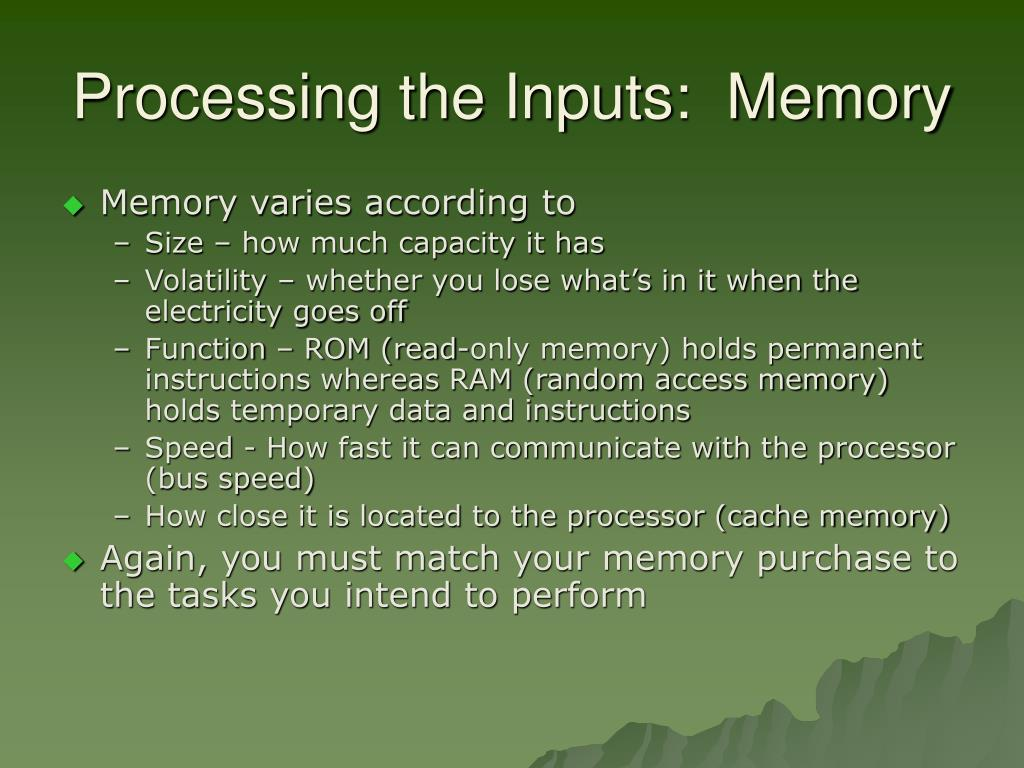 Processing the Inputs:  Memory