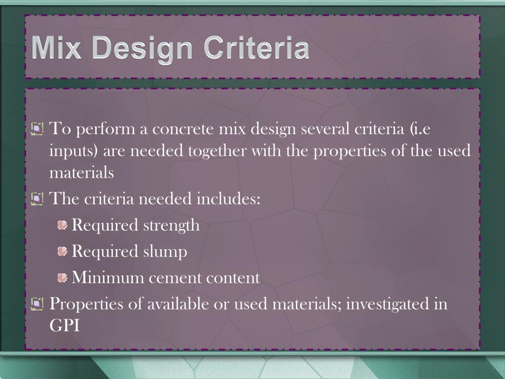 Mix Design Criteria